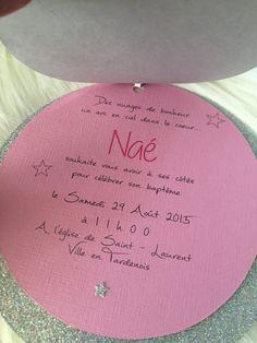 """Faire part rond """"baptême"""" ou """"naissance"""" thème étoile & nuage fille so-and-n"""