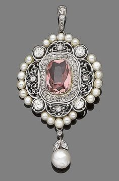 A belle époque pink tourmaline, pearl and diamond pendant, circa 1900. The quatrefoil plaque set to the centre with a cushion-shaped pink tourmaline within a finely pierced border of scrolling tracery, decorated with old brilliant, single and rose-cut diamonds and seed pearls, suspending a bouton pearl and single-cut diamond foliate drop, mounted in platinum and yellow gold, suspended from a later chain, tooled leather case by Berghs-Hesbain, 4 rue Neuve, 4 Bruxelles.