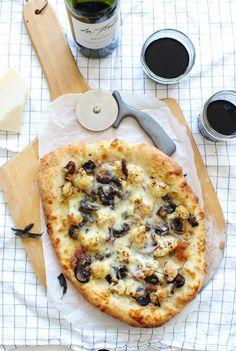 Roasted Cauliflower and Mushroom Pizza - Bev Cooks