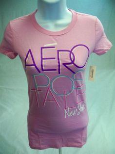 Aeropostale-Womens-Juniors-Short-Sleeve-Graphic-T-shirt-pink-size-XS-Aero-Tee