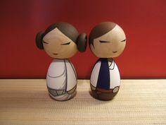Princess Leia and Han Solo Kokeshi Dolls