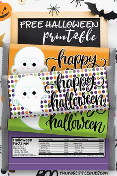 Halloween Candy Bar Wrappers for Kids (Ghost) Free Printable Halloween Candy Buffet, Halloween Decorations For Kids, Halloween Treat Bags, Halloween Party Decor, Holidays Halloween, Halloween Fun, Halloween Prints, Birthday Candy, 40th Birthday