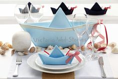 » Navy style - Christening Themes, Boy Baptism, Baptism Ideas, Baby Shawer, Nautical Party, Nursery Room, Baby Boy Shower, Party Supplies, Table Decorations