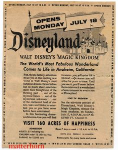 Disneyland Opening Day Ad              Each year around July 17th many arguments start over whether the 17th or the 18th is the true opening day of Disneyland. This ad seems to prove that the 18th should be considered the true opening day, with a large banner reading Opens Monday July 18. The ad is from a San Diego newspaper (either the Union, the Evening Tribune or even the Sun) and most likely ran on Saturday. The ad copy is very entertaining.