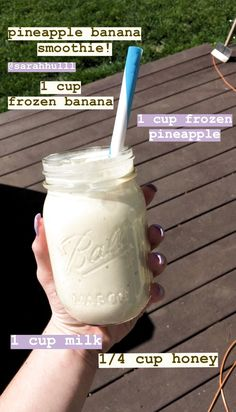 smoothie recipes banana pineapple healthy tasty healthyrecipes is part of Healthy snacks recipes - Easy Smoothie Recipes, Yummy Smoothies, Smoothie Drinks, Snack Recipes, Diet Drinks, Freezer Smoothie Packs, Lunch Smoothie, Nutrition Drinks, Milkshake Recipes