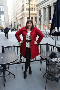 """This is what I would probably consider my """"current"""" style...even though I haven't worn a pencil skirt, tights, or a belt for years! LOL! (thanks for the blog tip, @Jennifer Forland :) Style Plus Curves: OOTD: Leather and Polka Dots and Coffee!"""