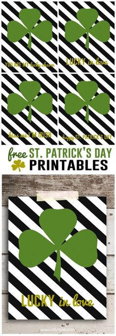 FREE St. Patrick's Day printables. Cute!!   |via lollyjane.com #stpatricksdaydecor #freeprintable