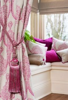 Kestrel Lister - Leila Fabric Collection - A pink and white patterned curtain with a tieback, and various lustrous, plain and patterned pink, white and silver cushions Hallway Curtains, Pink Curtains, Curtains With Blinds, Pink Bedrooms, Girls Bedroom, Victorian Hallway, Victorian Terrace, Indian Room, Pink Home Decor
