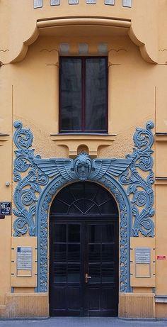Art Nouveau door in #Riga #architecture #artnouveau #Latvia #exterior #doorway #door #color #blue #orange by Eva