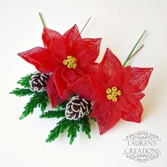french beaded poinsettias and pine cones