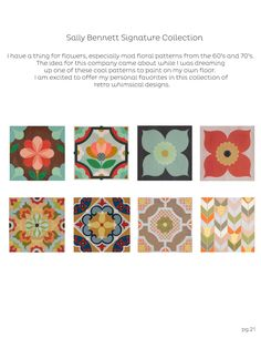 Sally Bennett Signature Collection (Mirth Studio, Colorful Patterned Hardwood Floor Tiles)