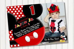 HUGE SELECTION Mickey Mouse Invitation - Red Yellow Black Mickey Mouse Birthday Party Invitations - Mickey Clubhouse Invitation. $10.00, via Etsy.