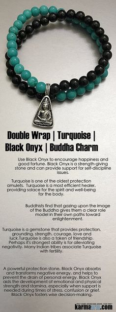 Turquoise is a gemstone that provides protection, grounding, strength, courage, #love and #luck. It is also a token of friendship but it's strongest ability is for alleviating negativity. Many Indian tribes associate #Turquoise with #fertility. Black #Onyx #Buddha  ..…..#Beaded #Bracelet #Yoga #Chakra #Charm #Mala #Stretch #Meditation #Jewelry #Energy #Healing #Crystals #Stacks #pulseiras #Bijoux #Handmade #Reiki #Mala #Buddhist #Mens #Womens