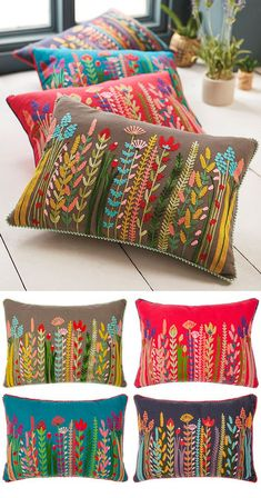 Hand Embroidery Videos, Embroidery Flowers Pattern, Hand Embroidery Stitches, Hand Embroidery Designs, Cushion Embroidery, Embroidered Cushions, Crewel Embroidery, Floral Cushions, Decorative Cushions
