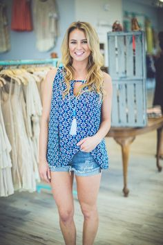 Rock our *NEW* Abstract Print Tank in Navy with some cute shorts during the day and dark denim at night! Get this versatile blouse for ONLY $28 at Entourage!