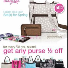 ThirtyOne Gifts April Customer Special! For Every $31 you spend, pick any purse for half off!  www.mythirtyone.com/Sflippin