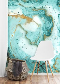 Top Wallpaper Trends For Spring 2017 Top Wallpaper Trends For Spring 2017 Check Out Our Top 5 Spring Wallpaper Trends For 2017 From Geometric To Minimalist Now S The Time To Start Fresh Painted Marble Wallpaper Mural Teal And Gold Frühling Wallpaper, Spring Wallpaper, Teal Wallpaper Accent Wall, Teal And Gold Wallpaper, Gold Marble Wallpaper, Marble Wallpapers, Bedroom Wallpaper, Bedroom Murals, Wall Murals