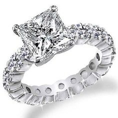 3.50 Ct Princess Cut Diamond Eternity Band Anniversary Engagement Ring 14k Gold Center 1.50 Carat $4999.00