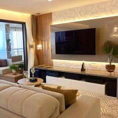 Image may contain: living room, table and indoor Living Room Tv Unit Designs, Living Room Wall Units, Tv Wanddekor, Tv Unit Furniture, Modern Tv Wall, Home Designer, Tv Wall Decor, Tv Wall Design, Home Ceiling
