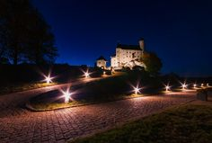 Twilight castle - Bobolice Castle at twilight.