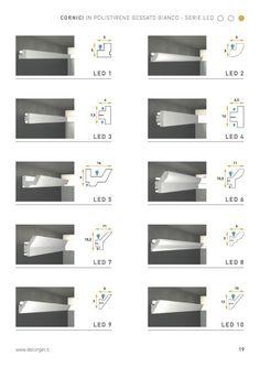 Cornici per led in polistirene gessato - Decorget Cove Lighting Ceiling, Ceiling Light Design, Home Ceiling, False Ceiling Design, Ceiling Lights, Hidden Lighting, Linear Lighting, Strip Lighting, Lighting Design