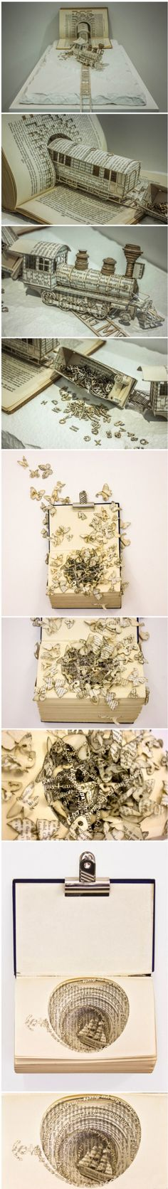 Amazing book sculpture by Thomas Wightman. Conveying the emotions of a panic attack using the metaphor of a sinking ship.