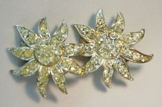 Earrings Vintage Crystal Designer Sarah Coventry 1950's Flowers http://www.RIVIBLUECLOTHING.com Site being loaded with inventory while under contraction. FREE DOMESTIC SHIPPING!