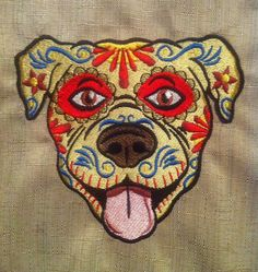 sugar skull dog day of the dead Día de by VickiLynnsStitchArt, $6.95 i know at least one person that would freak if this was a boston lol
