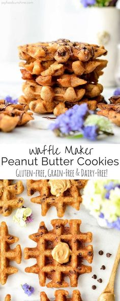 These Waffle Maker Peanut Butter Cookies are gluten-free and ready in 10 minutes! An easy dessert recipe that is healthy enough for breakfast {gluten-free peanut butter waffles}! They taste JUST like a flourless peanut butter cookie but no oven required!