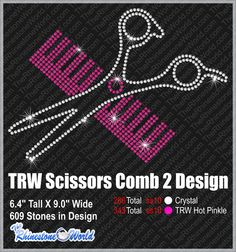 TRW Scissors Comb Rhinestone design (File Download Version w/ Mock Up)