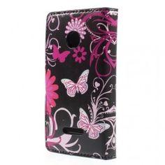 Lumia 435 kukkia ja perhosia puhelinlompakko.