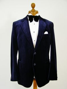 Navy blue velvet smoking jacket 42L   Tweedmans Vintage - Vintage Clothing