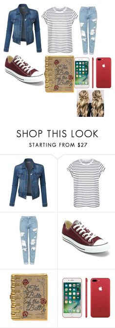 """""""Girls day out"""" by lillies-al ❤ liked on Polyvore featuring LE3NO, Topshop, Converse and Judith Leiber"""