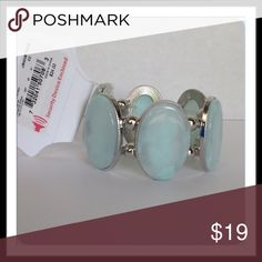 "Ovals of Aqua Fashion Stretch Bracelet Fashion stretch bracelet. Silver toned trim.  2 1/2"" opening. Best for a small to medium wrist. 🚫 Trades 🚫 Holds Jewelry Bracelets"
