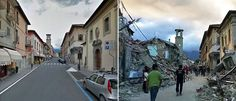 The earthquake badly damaged the centre of Amatrice, shown in these two pictures of the same street before and after the quake - 24 August 2016. The main street through Amatrice was reduced to rubble following the earthquake