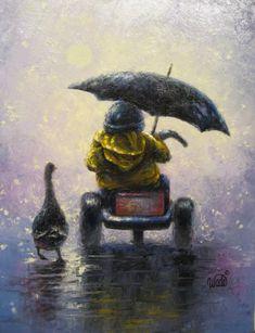 Rainy Ride Print - little boy, boy in rain, Vickie Wade art, prints, paintings, duck, umbrella, singing in the rain. $26.00, via Etsy.