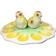 #tbt at www.rubylane.com @rubylanecom --Vintage Egg Plate w Chick Salt & Pepper Shakers