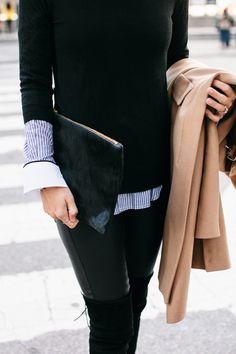 layered striped shirt, sweater, camel coat, fur clutch & thigh-high boots #style #fashion