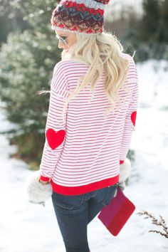 Heart patches on the elbows with a cute patterned hat.