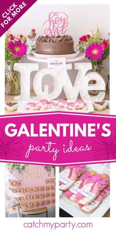 Fall in love with this fab Galentine's day party! The cookies are incredible! ee more party ideas and share yours at CatchMyParty.com #catchmyparty #partyideas #galentines #gals #galentinesdayparty #galentinesday Bridal Shower Cakes, Bridal Shower Party, Birthday Parties, Birthday Cake, Heart Cakes, Party Activities, Valentines Day Party, Fun Desserts, Holiday Parties
