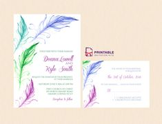 Bright Feathers Wedding Invitation and RSVP - free to download and print at home