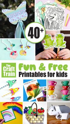 An incredible collection of over 40 fun and free kids printables! There are games, diy toys, colouring sheets, paper crafts and more. Fun Activities For Toddlers, Printable Activities For Kids, Printable Crafts, Free Printables, Preschool Ideas, Summer Crafts For Kids, Easy Crafts For Kids, Diy For Kids, Coloring For Kids