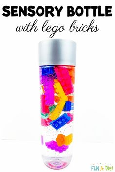 Grab some building bricks and help the kids make their own LEGO sensory bottle. What a great way to teach and practice self-regulation. Calming Bottle, Calming Jar, Calm Down Jar, Calm Down Bottle, Early Learning Activities, Lego Activities, Preschool Lesson Plans, Preschool Science, Preschool Ideas