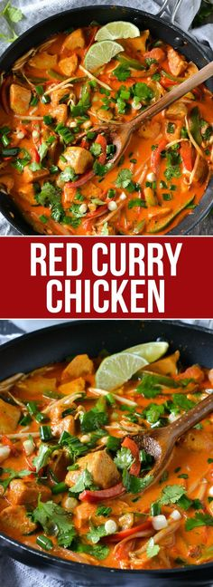 Skip take out and try this quick and easy recipe for Red Curry Chicken loaded with chunks of chicken and peppers in a creamy coconut red curry sauce.