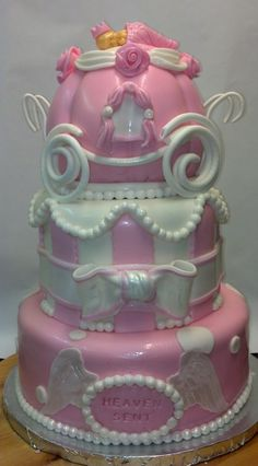 Princess Baby Shower Cake, Heaven Sent Theme, With Fondant Baby And  Princess Carriage.