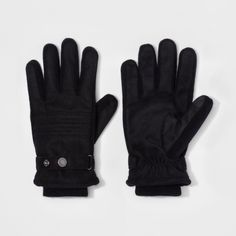 Men's Quilted Woven Thinsulate Lined Wool/Polyester Gloves With Stripes - Goodfellow & Co Black M/L