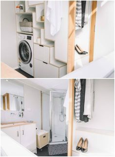 The Millennial tiny house features an ingenious retractable staircase #bathroom #small #laundry