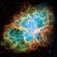 The crab nebula is located within the constellation Taurus. It is believed to be the remains of a giant supernova that was recorded by Chinese and Arab astronomers in the year AD 1054. The nebula emits pulses of gamma and radio waves and is expanding at a rate of about 1,500 kilometers per second.