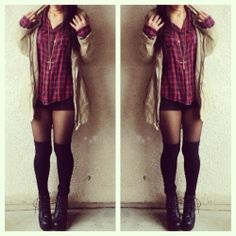 like this grungy look. #plaid with shorts and high knee socks