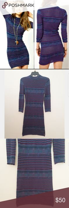Free People groovy sweater knit dress High collar / neckline beautiful fitted knit sweater bodycon dress. Long sleeves. Groovy striped pointelle knit dress gives of fun retro feel. Unlined. Semi sheer. 100% cotton. Hand wash. Blue/ purple .  Size small  1120411 Free People Dresses